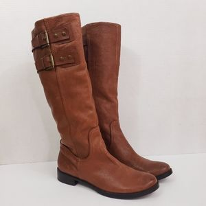 Nine West Tumble Tall Riding Boots w/Buckles Brown